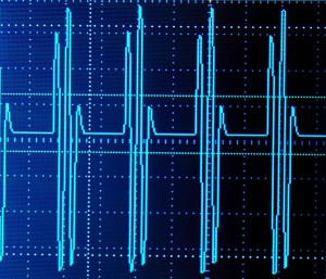 Multiple 1000 hz carrier pulses occur at 100 hz.